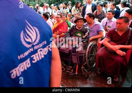 July 6, 2012 - Kathmandu, Kathmandu, Nepal -Human Rights observers were dispatched on the grounds of Chugsamon temple - Stock Photo