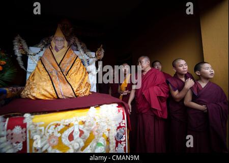 July 6, 2012 - Kathmandu, Kathmandu, Nepal - portrait of his holiness Dalai Lama is displayed to the gathered crowd - Stock Photo