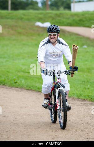 6th July 2012, Hadleigh Farm, Essex. The Olympic Torch ...