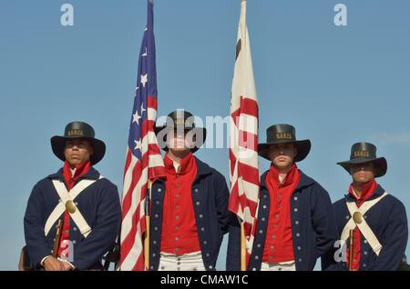 Niantic, Connecticut, July 6, 2012 - The honor guard from left to right: US Coast Guard Seaman Azaert Rivera, Seaman - Stock Photo