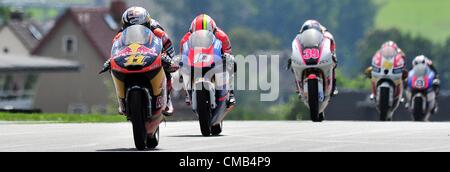 08.07.2012. Hohenstein-Ernstthal, Germany. German rider Sandro Cortese of Team Red Bull KTM (C) leads the field - Stock Photo