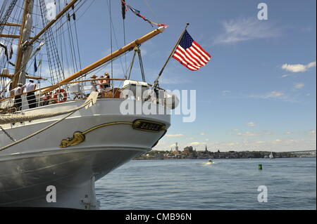 New London, Connecticut, USA - July 9, 2012: The stern of the US Coast Guard training ship Eagle with the American - Stock Photo