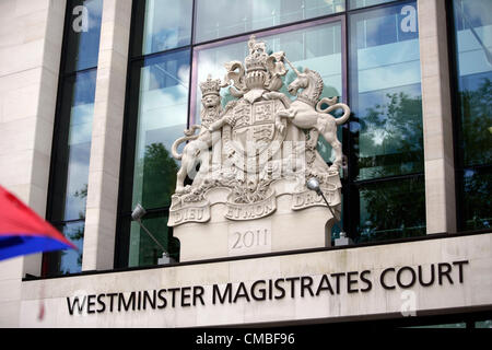 London, UK. Wednesday 11th July 2012. Westminster Magistrates Court, Marylebone Road, London, UK. - Stock Photo