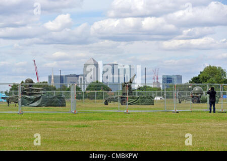 London, UK. 12th July 2012. Rapier missiles for the defence of the Olympic Games return to Blackheath Common and - Stock Photo