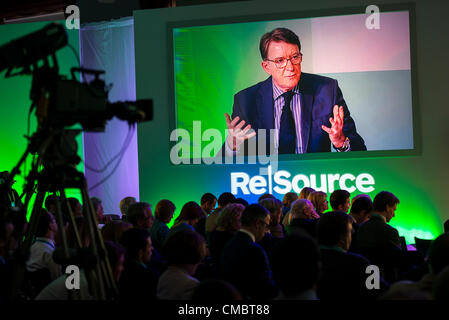 13th July 2012 Lord Mandelson Chairman Global Councel , ReSource 2 day conference, discussing and challenging preconceptions - Stock Photo