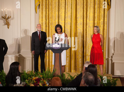 US First Lady Michelle Obama speaks at the Smithsonian's Hewitt-Cooper National Design Awards luncheon at the White - Stock Photo
