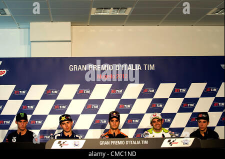 13.07.2012. Winners of the pole positons Dani Pedrosa(C) Mugello Racetrack, Mugello, Italy. The MotoGP of Italy - Stock Photo