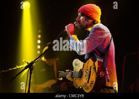July 14 2012, Pontrhydfendigaid, Aberystwyth UK: Super Furry Animals front man GRUFF RHYS performing at 'Hannercant' - Stock Photo