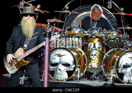 July 16, 2012 - Moscow, Russia - July 16,2012.Moscow,Russia.American blues rock band ZZ Top performing live in Moscow. - Stock Photo