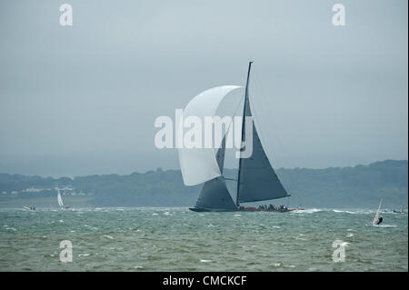 Lionheart races in the J Class Regatta race in the Solent off the Isle Of Wight 18-21 July 2012. Yachts faced 20 - Stock Photo