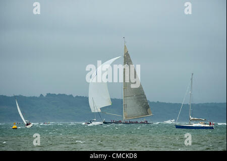 Valsheda races in the J Class Regatta race in the Solent off the Isle Of Wight 18-21 July 2012. Yachts faced 20 - Stock Photo