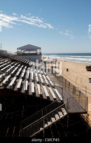 July 19th 2012  Construction crews work on erecting the stands, stadiums  and bleachers south of Huntington Beach - Stock Photo