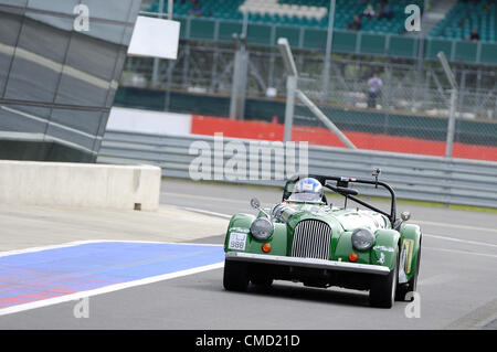 21st July 2012, Silverstone, UK.  Coronation Street actor Tony Hirst drives into the pit lane after completing qualifying - Stock Photo