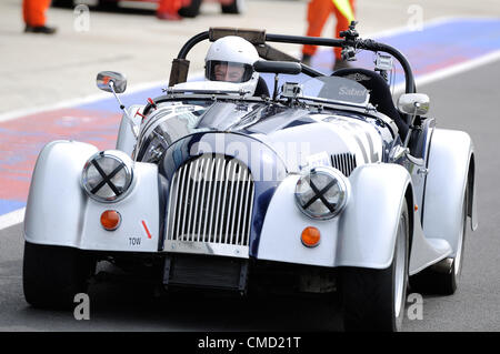 21st July 2012, Silverstone, UK.  Actor Sir Patrick Stewart drives into the pit lane after completing qualifying - Stock Photo