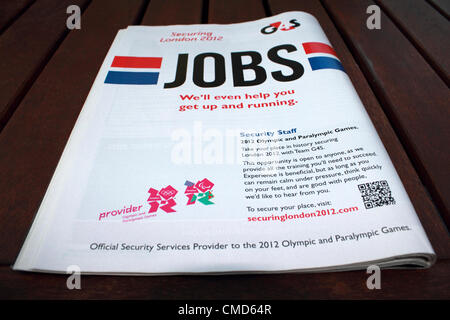 G4S job advert for London Olympic 2012 Security Staff, posted in New Scientist job section 24 December 2011 - Stock Photo