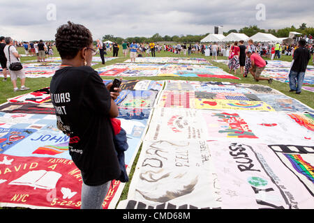 AIDS Memorial Quilt panels are put on display on the Mall to mark its 25th anniversary, ahead of the International - Stock Photo