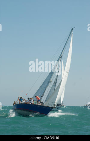 On Friday, July 20, 2012, two fleets of boats crossed the start line in Chicago  to begin  their journey to Mackinac - Stock Photo