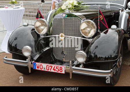 "BADEN-BADEN, GERMANY – JULY 13: ""MERCEDES BENZ"" (1939) at The International Exhibition of old cars 'Internationales - Stock Photo"