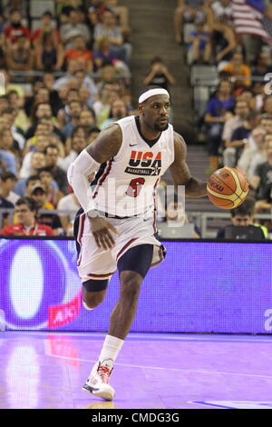 22.07.2012 Barcelona. Spain. Lebron James in action during friendly match between USA versus Argentina at Palau - Stock Photo