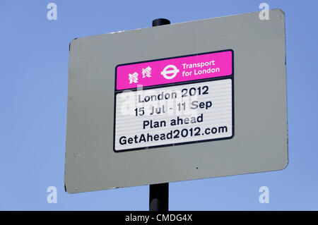 LONDON, UK, Monday July 23, 2012. Transport for London sign on Park Lane. The London 2012 Olympic Games will be - Stock Photo