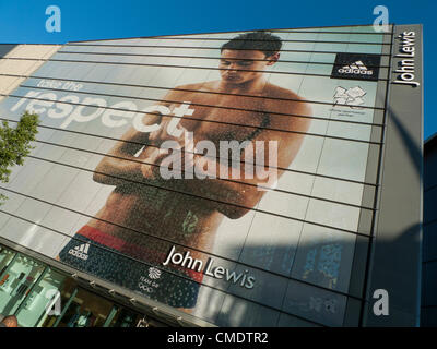July 25, 2012 Cardiff, Wales, United Kingdom. John Lewis's  Cardiff store celebrates British diving champion and - Stock Photo