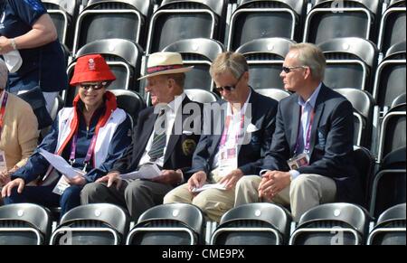 London, UK. 29th July, 2012. Greenwich Park. Olympics Equestrian. HRH Duke of Edinburgh, 3rd right sitting alongside - Stock Photo