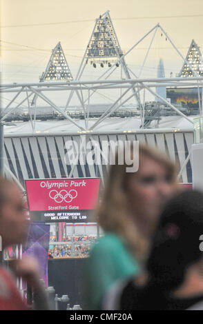 Stratford, London, UK. 1st August 2012. The Olympic Stadium seen from the viewing area in the Westfield Stratford - Stock Photo