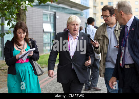 Excel, London, UK. Wednesday 1st August 2012. Boris Johnson, Mayor of London at the Olympic Games 2012 answering - Stock Photo