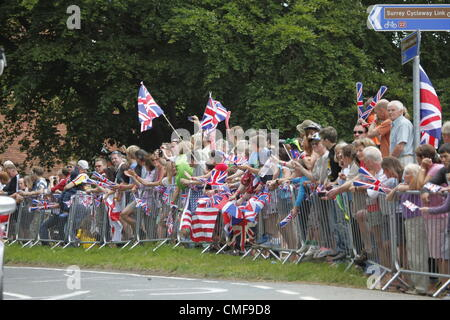 Crowd gear up for the arrival of the first peloton - Atmosphere during the Olympic  Cycling  Surrey, UK    -  28th - Stock Photo