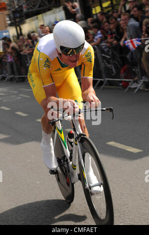 Michael Rogers of Australia races through London in the 2012 Olympic Men's Individual Cycling Time-Trial, London, - Stock Photo