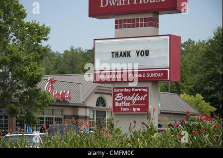 Aug. 3, 2012 - Jonesboro, GA - A 'Chick-fil-A restaurant near the founder's home south of Atlanta posts a sign thanking - Stock Photo
