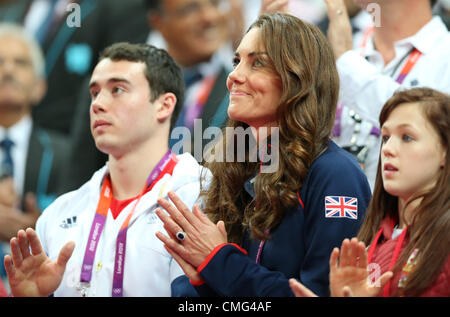 05.08.2012. London, England.  Catherine, Duchess of Cambridge in the stands during the Artistic Gymnastics competitions - Stock Photo
