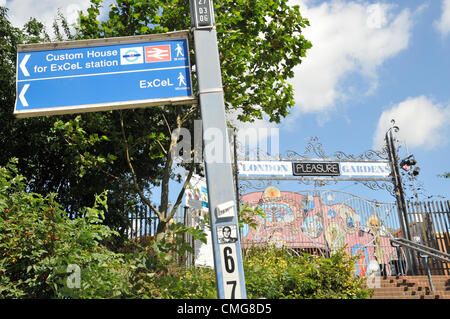 Newham, London, UK. 6th August 2012. The gates of London Pleasure Gardens in Newham, East London closes and goes - Stock Photo
