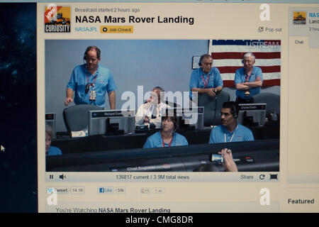August 6th 2012. USA. Live Stream of NASA Mars Rover Landing. A computer screen view of inside the control room - Stock Photo