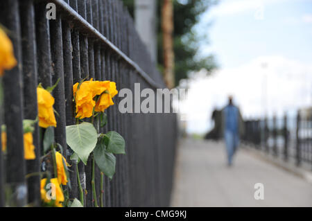 Ferry Lane, Tottenham, London, UK. 6th August 2012. Flowers taped to the railings at the spot where Mark Duggan - Stock Photo