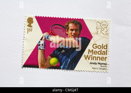 UK Tuesday 7 August 2012. Stamp to honour gold medal winner Andy Murray in the Tennis Men's singles event. Stamp - Stock Photo