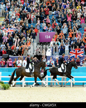 London, UK. 7th August, 2012. Greenwich Park. Olympic Equestrian Team Dressage. Gold medal winners Great Britain - Stock Photo