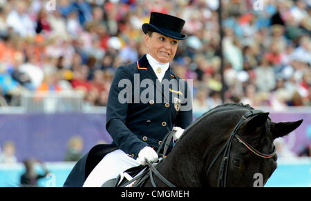 London, UK. 7th August, 2012. Greenwich Park. Olympic Equestrian Team Dressage. Dorothee Schneider, Germany - Stock Photo