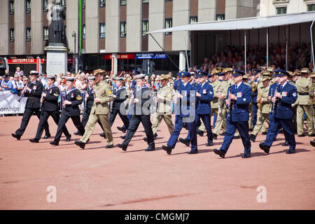 The military band of the Australian Navy marching, as part of their performance in George Square, Glasgow. - Stock Photo
