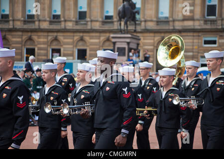 Musicians from the US Naval Forces Europe band marching during a performance, in George Square, Glasgow, Scotland, - Stock Photo