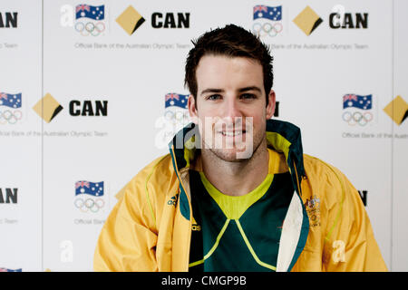 Stratford, London, UK. 7th August 2012, James Magnussen, Australian Olympic swimming Silver and Bronze medalist, - Stock Photo