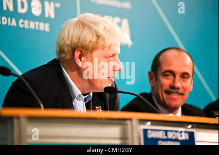 London, UK – 9 August 2012: Mayor Boris Johnson speaks during the Press Conference 'Delivering a lasting legacy - Stock Photo