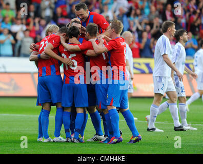 9th Aug 2012. Pilsen players celebrate their vicory during Europa League third qualifying round soccer match FC - Stock Photo