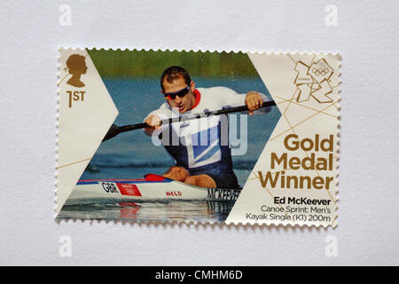 UK, Sunday 12 August 2012. Royal mail issue gold medal commemorative Olympic stamps to honour gold medal winner - Stock Photo