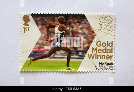 UK Sunday 12 August 2012. Stamp to honour gold medal winner Mo Farah in the  Athletic's Track Men's 5,000 m event. - Stock Photo