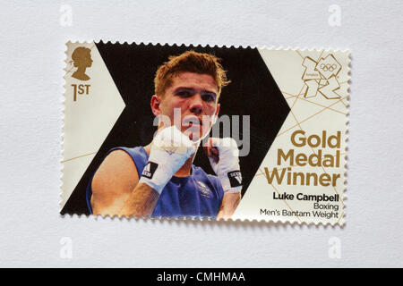 UK Sunday 12 August 2012. Stamp to honour gold medal winner Luke Campbell in the Boxing Men's Bantam Weight event. - Stock Photo