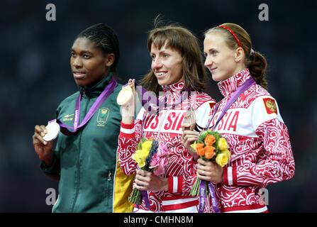 CASTER SEMENYA, MARIYA SAVINOVA & EKATERINA POISTOGOVA SOUTH AFRICA & RUSSIA LONDON 2012 OLYMPIC GAMES, WOMENS 800M - Stock Photo