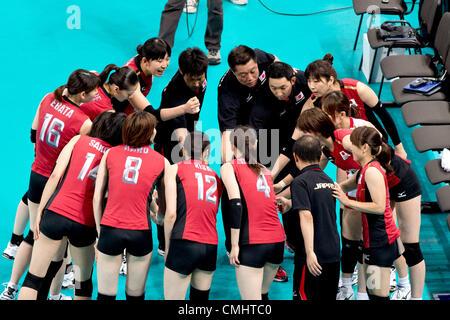 Japan team group (JPN),  AUGUST 11, 2012 - Volleyball :  Japan team celebrates after winning the   Women's Bronze - Stock Photo