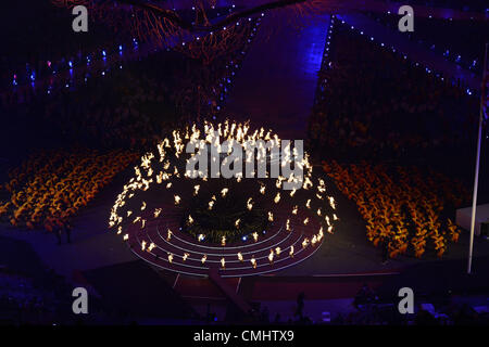 LONDON, ENGLAND - AUGUST 12, the Olympic flame is about to be extinguished during the closing ceremony of the London - Stock Photo