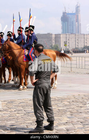 Aug. 12, 2012 - Moscow, Russia - August 12,2012. Moscow,Russia. Cossacks set off on ride from Moscow to Paris.A - Stock Photo